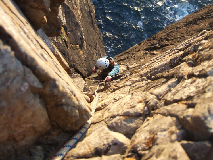 Top pitch on Right Angle HS 4B, Gurnards Head, Cornwall, England