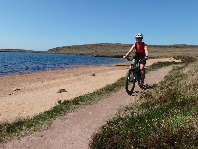 Riding out from Sandwood Bay, Mountain Biking Scotland